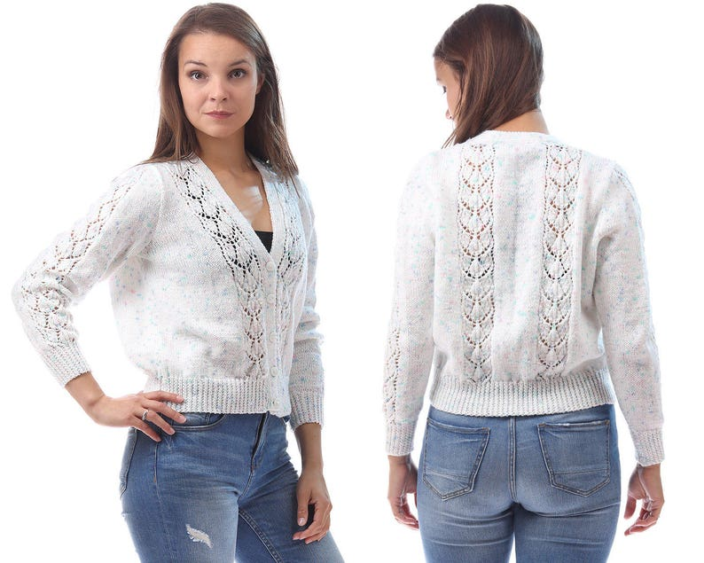 Vintage WHITE Cardigan 80s Crop SPECKLED Cut Out Braided Cable  4cb4efe78