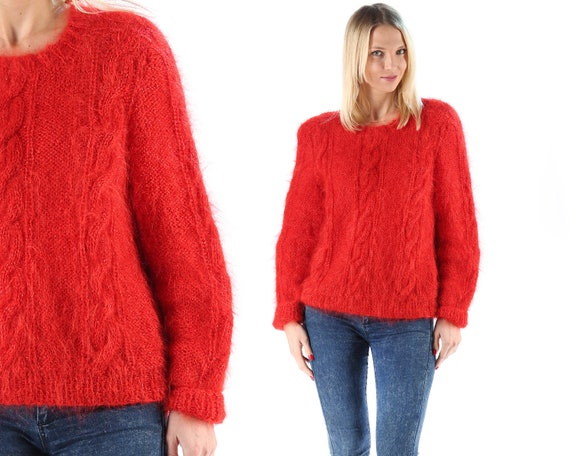 Red Mohair Fuzzy Sweater 70s Vintage Mohair Sweater Cable Knit  418bca239