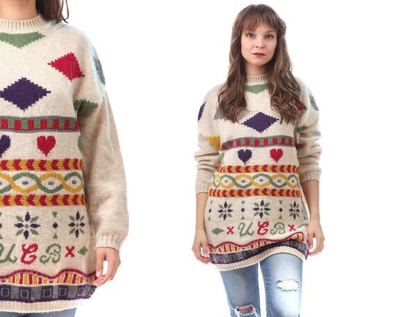 0abb8634265b Cœur géométrique à motifs pull des années 80 Vintage en laine