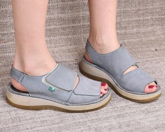 c2c805f16ac US size 7.5 Blue Platform Sandals 90s Wedges Vintage KICKERS Wide Strap  Pastel Blue Suede Leather Padded Inside Sandals Chunky Uk 5