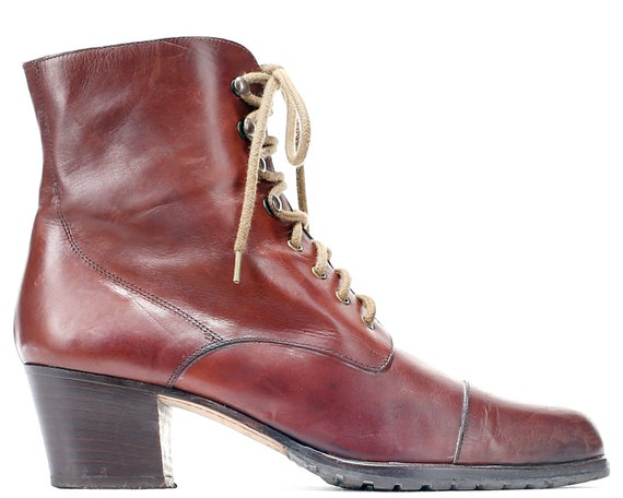 Quality Up Eur UK Vintage Ankle Stable Cap Lace Low Brown 38 Leather Toe Heel Booties 5 Boots LUXURY Classy US 7 5 90s Women Brogue w1Fpn0q