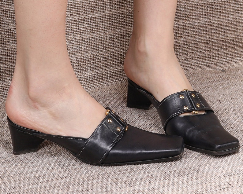 Us 8.5 Black MULES Sandals 90s Monk Strap Leather Sandals Real Leather Sliders Summer Shoes Chunky Heels Leather Soles Eur 39 Uk 6