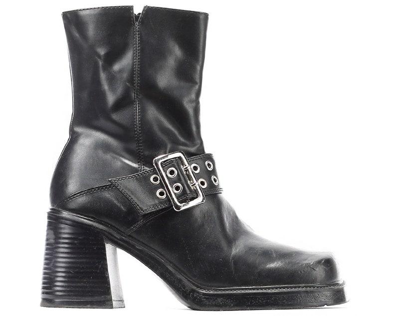 074052e439e9 US 5 Vegan Platform Boots 90s Vintage Black Chunky Ankle Boots