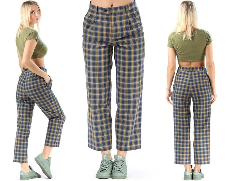 d1c1a54591d Lacoste Pants Unisex Brown Blue Plaid Trousers Hipster Ankle