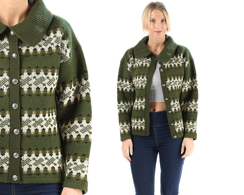 18fd65765 Green Wool Nordic Cardigan 60s Nerd Thick Knit Vintage Norway