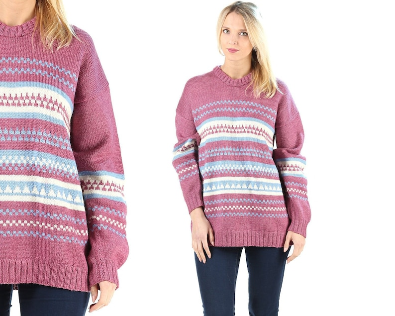 Striped Purple Sweater Vintage 80s Oversize Sweater Women Striped Jumper Aztec Geometric Print Knit Sweater Soft Acrylic Sweater . Large
