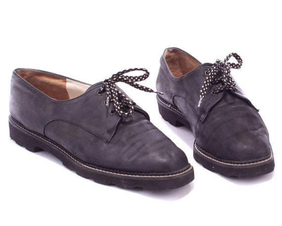 Europe Vintage Shoes 41 Faded Oxford Nubuck 90s Oxfords 5 Wide Rugged Eur women Black Bally Fit Quality Black Leather Us Sole 5 UK 10 7 0xfTwUqWp