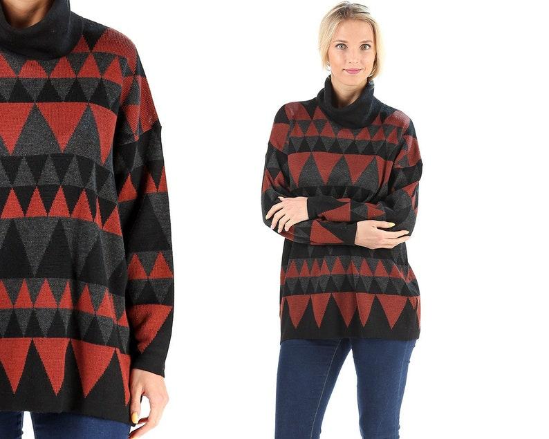 c3ae54c948e Turtleneck Sweater 80s Soft Oversized Jumper Brown Black