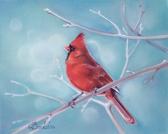 """Original oil painting of a cardinal """"Frosty morning"""" 8x10"""" oil on gallery wrapped canvas."""