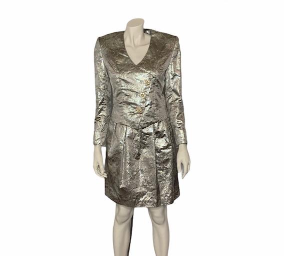 Vintage Victor Costa metallic 2 piece skirt suit