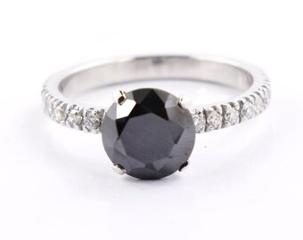 Great Shine Engagement Certified Ring Diamond Black Wedding Round 3.50 Cts Aaa. Fine Rings Fine Jewelry