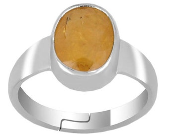 5ct -9ct Yellow Sapphire,Pukhraj Gemstone Astrological Ring in Sterling Silver,14kt Gold-Free Rudraksh Pendant