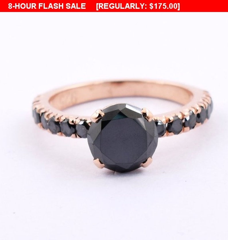 3 Ct Engagement Wedding Certified Diamond Black Ring Round Enhanced 925 Aaa Fine Rings