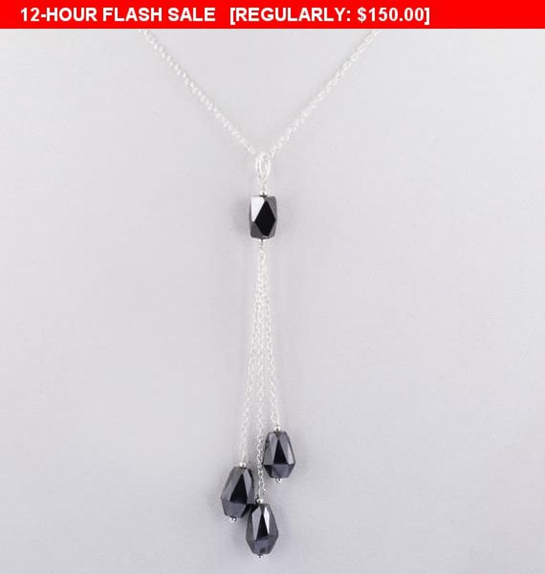 Elegant Black Diamond Necklace With Four Black Diamond Beads in Sterling Silver Wire Necklace Customized finish Chain Necklace