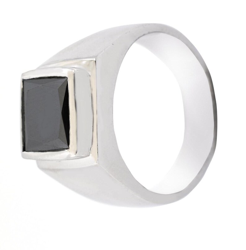 4.60 Cts Princess Cut Black Diamond Unisex Ring in 925 Silver Ideal GIft For Husband,Wife White Gold,AAA.Certified Earthmined Diamond