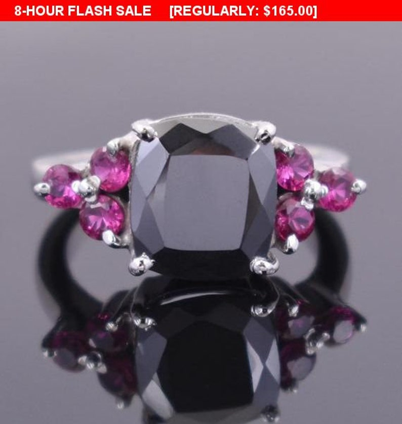 Anniversary Gift,Promise Ring 3.5Ct Cushion Shape Black Diamond Solitaire Ring With Ruby Accents Birthday Gift