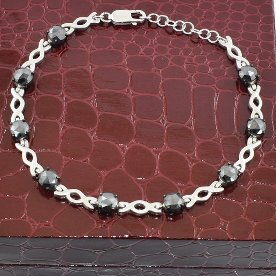 Black Diamond Infinity Tennis Bracelet in Matt Finish Birthday Gift,Christmas gift For Girlfriend,Daughter Wedding Gift Anniversary Gift