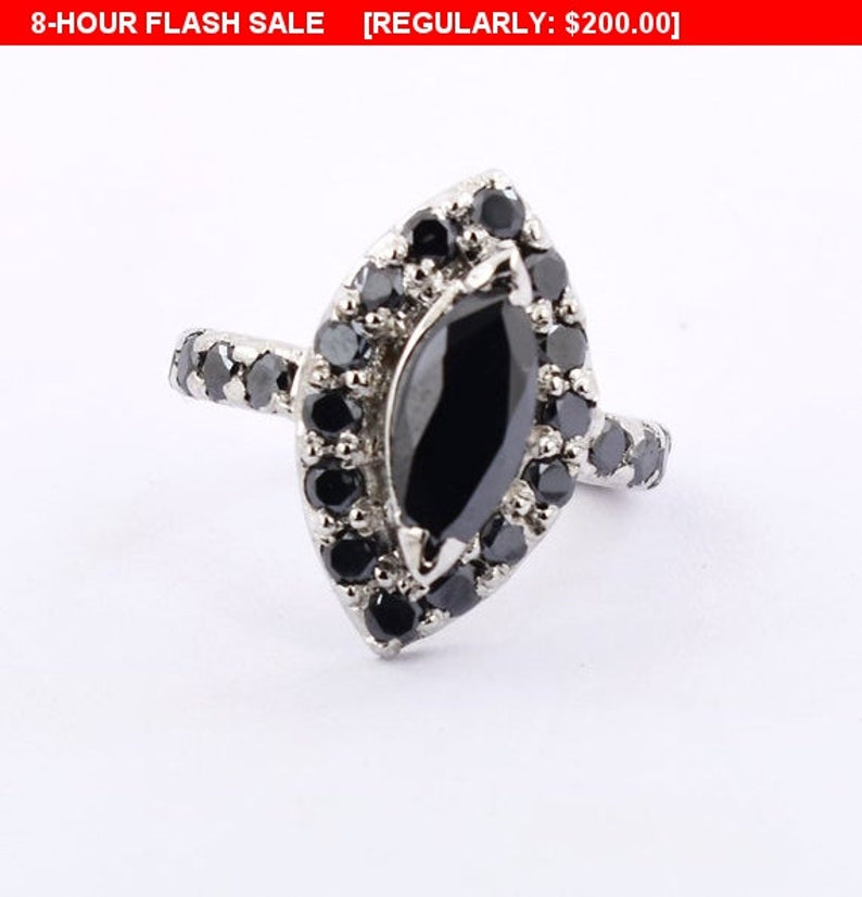 Black Diamond 2ct Marquise Ring With Black Diamond Accents in Sterling Silver