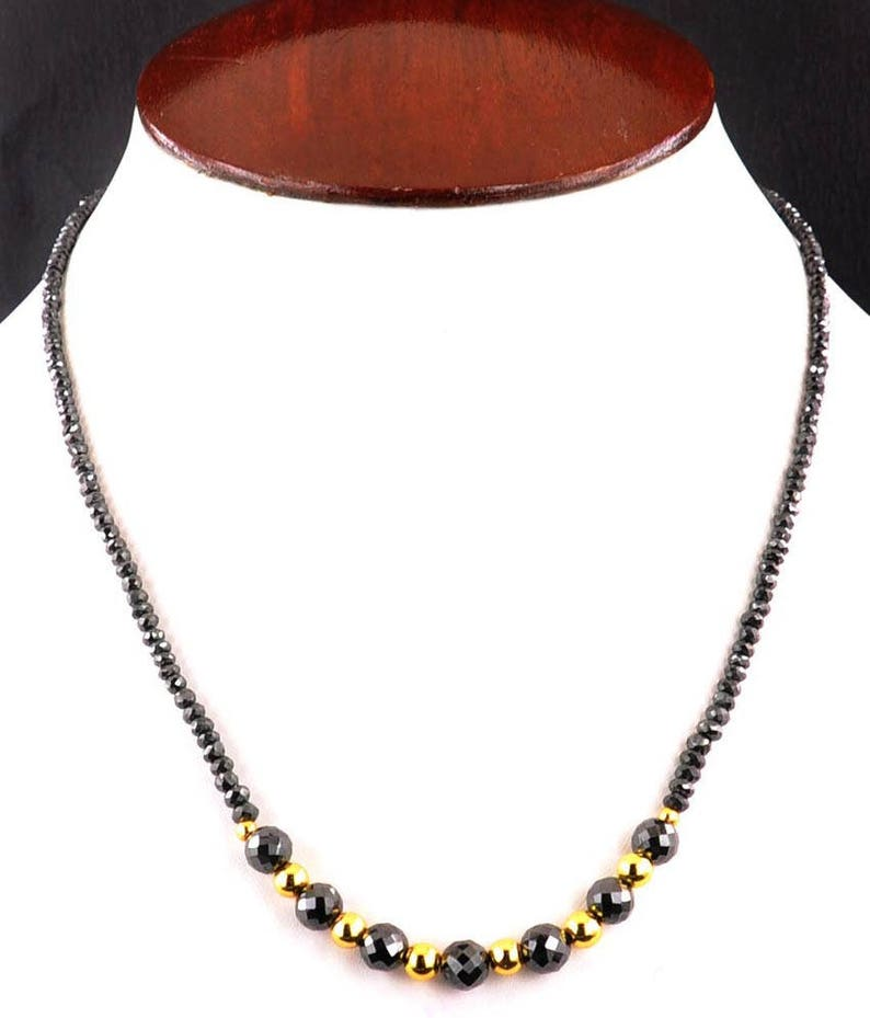 4mm And 8mm Black Diamond Beads Single Row Necklace with Gold Foil Beads Free Black Diamond Studs As Special Offer