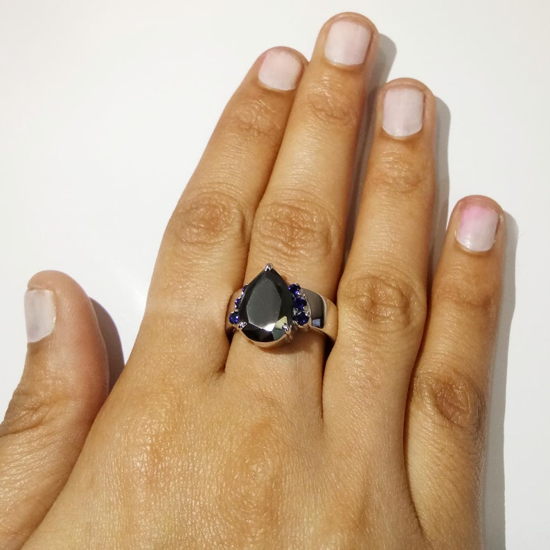 3Ct Certified Pear Shape Black Diamond Solitaire Ring With Sapphire Accents,Engagement Ring,Wedding Ring,Promise Ring