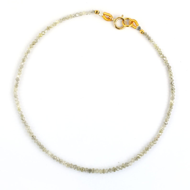 Certified 2mm Off White Diamond Beads Bracelet With 18kt Solid Gold Clasp,Gift for Daughter Gift for Wife