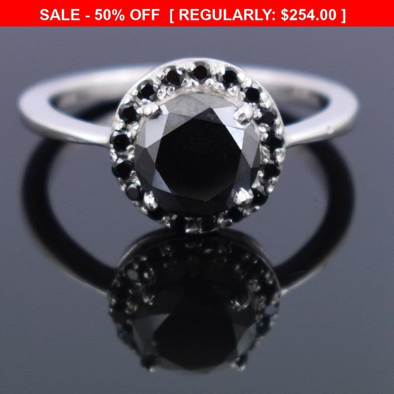 1ct 5ct Certified Round Brilliant Cut Black Diamond Ring With Black Accents in Sterling Silver