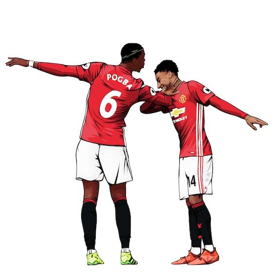 Pogba Lingard Dab Celebration Manchester United Poster Etsy