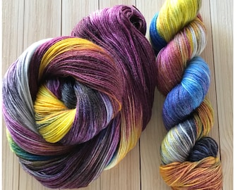 Hand dyed yarn Sock weight 436 yards 4 ply