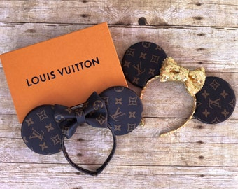 Louis Vuitton LV Leather Inspired Gold Rose Gold Glitter Mickey Minnie Mouse  Ears Headband Hat Bow Sequin 3ce8a42136ca9