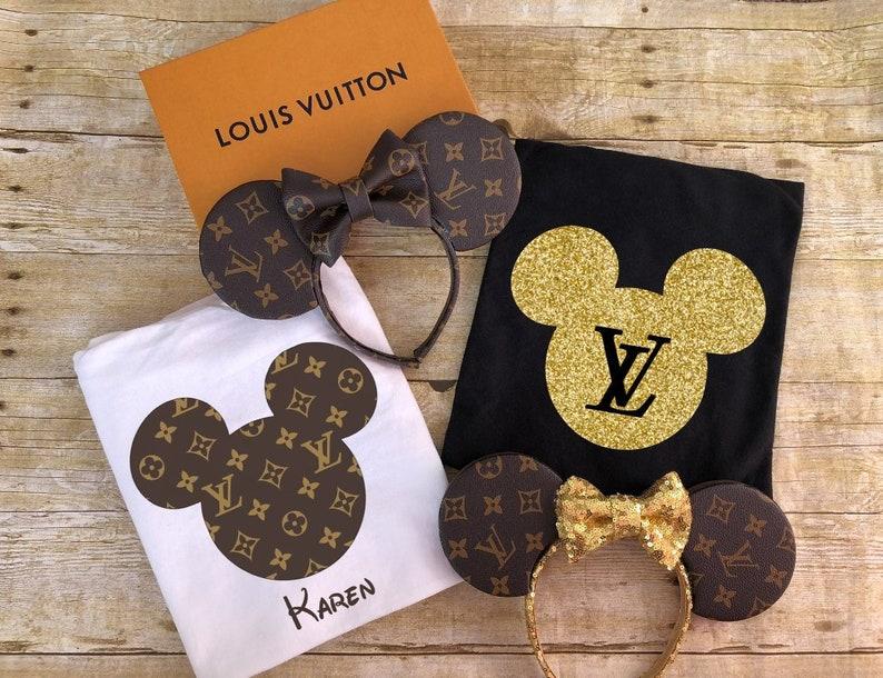 267a6cd8c08a58 Louis Vuitton Shirt Disney Mickey Minnie Ears Logo Print
