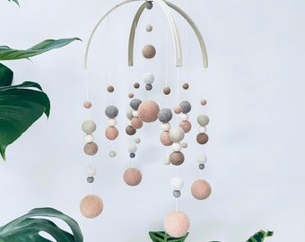 In stock   Felt baby mobile- Galaxy style- crib mobile, nursery decor, new baby gift, baby shower   gender neutral peach, fawn, sand & chai