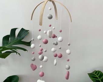 Felt baby mobile   standard double arch style with felt hearts   crib mobile   nursery decor- dusty pink, light grey & white