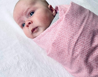 Baby swaddle   Flannelette baby wrap   Dusty pink print   105cm x 105cm approx in size   baby blanket   baby shower   new baby gift