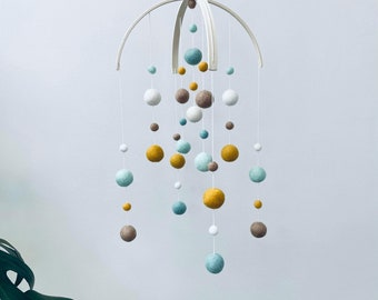 In stock   Felt baby mobile- Standard double arch   baby shower gift   gender neutral nursery decor   mustard, sage, chai, mint & cream