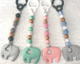 Baby elephant pram toy, play gym toy, teething toy- preset colours or custom colours, plus ring or hook option