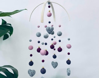 In stock   Felt baby mobile   standard arch style hearts   crib mobile   nursery decor- baby girl plum, amethyst, pink & grey + gold accents
