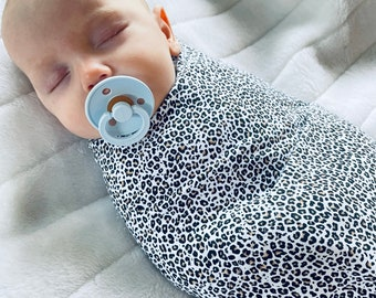Baby swaddle   stretch jersey baby wrap   Leopard print fabric   huge 140cm x 100cm approx in size   baby blanket   baby shower   new baby