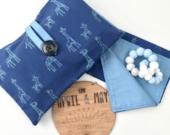 In stock- Nappy wallet & change mat set; diaper clutch, baby travel bag- baby boy giraffe print