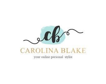 Premade logo, logo aquarelle, logo du Blog, Blog en-tête, Logo personnalisé, Logo personnalisé, conception de Logo, initiales, glam, 6 couleurs