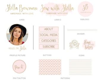 Branding Kit,Website Design Kit,Blog Kit,Business,Watercolor,Blog Design,14 pieces,Premade logo,Wordpress,blogger,Blog images, choose color