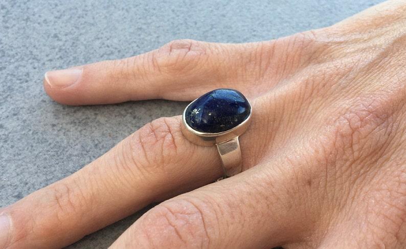 Silver Lapis lazuli ring,