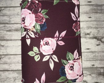 TN cover, travelers notebook cover, 2 different styles-  A5, B6, and standard. In maroon, navy blue and pink floral. read description*
