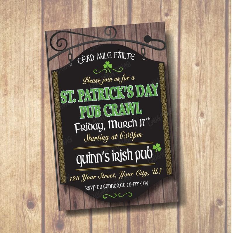 Irish Pub St Patrick S Day Invitation Pub Crawl Etsy