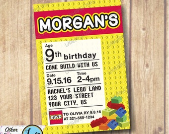 Lego Themed Invitation; Printable Building Blocks Invite; Come Build with Us Party