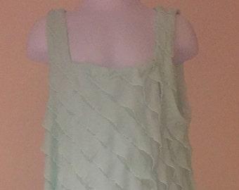 Little girls dress; mint green ruffled knit fabric, size 6