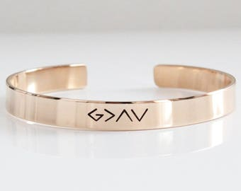 God is greater than the highs and lows  / Inspirational Cuffs / Power Phrase Bangle/ Personalized bracelets/