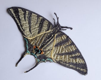 Moks531 Zebra Swallowtail Papilio Machaon Embroidered Patch, Butterfly Patch