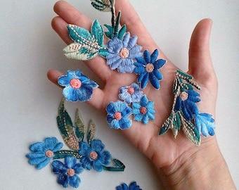 Moks34(p) 6 pieces set blue flowers Embroidery Patches