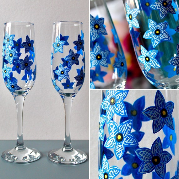 Hand Painted Forget-Me-Not Glass Flute