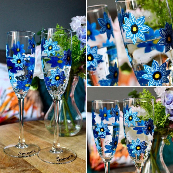 Pair of Forget-Me-Not Handpainted flute glasses